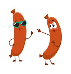 couple of funny sausage characters in sunglasses vector image