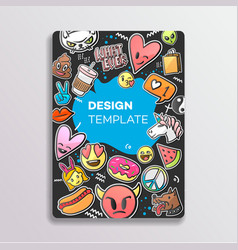 Cover design with patches pattern hand drawn vector