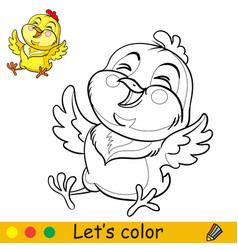 Cute laughing chicken coloring with colorful vector