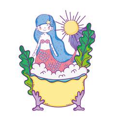 cute mermaid in bathtub character vector image