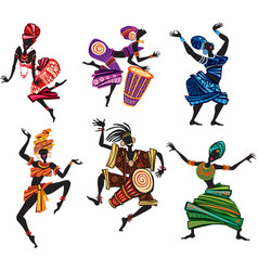 Dancing people in traditional ethnic style vector
