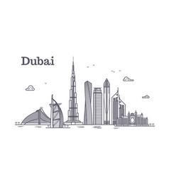 detailed dubai line cityscape vector image