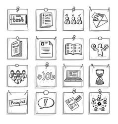 Doodle business career development elements set vector