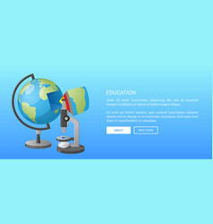 Education banner with globe model and microscope vector