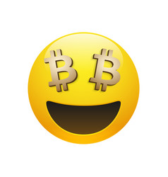 Emoticon with golden bitcoin sign eyes vector