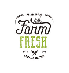 Farmers market typography badge fresh and local vector
