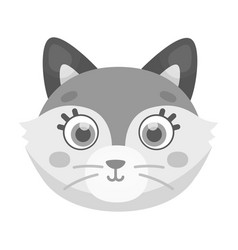 fox muzzle icon in monochrome style isolated on vector image