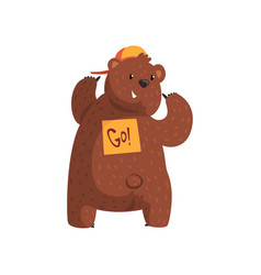 Funny bear showing sticker go on his back cartoon vector