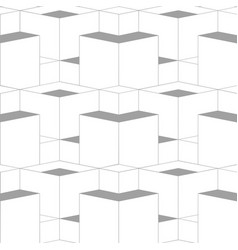 geometric abstract 3d grid seamless pattern grey vector image