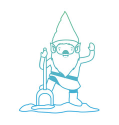 gnome with costume and shovel in degraded green to vector image