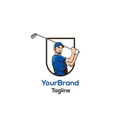 golf man logo template vector image