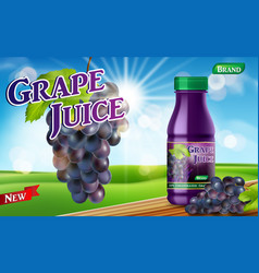 grape juice bottle with bokeh background on wooden vector image