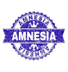 Grunge textured amnesia stamp seal with ribbon vector