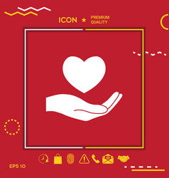 hand holding heart symbol vector image