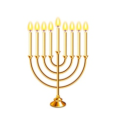 Hanukkah menorah with candles isolated vector image