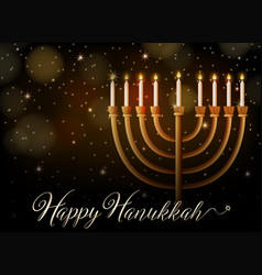 Happy hanukkah with lights at night vector