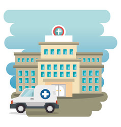 hospital building with ambulance vector image