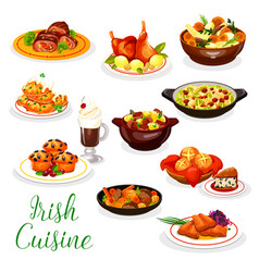 Irish cuisine fish and meat food coffee cupcake vector