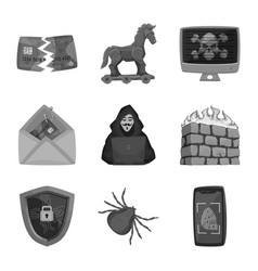 isolated object of virus and secure logo vector image