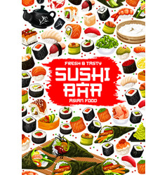 Japanese sushi and rolls asian food menu vector