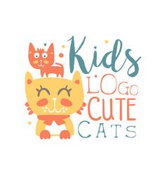 Kids logo cute cats baby shop label fashion vector