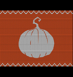 knitted pumpkin on orange knitted backgro vector image