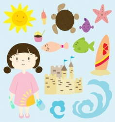 little girl on the beach vector image