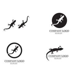 lizard chameleon gecko silhouette black 10 vector image