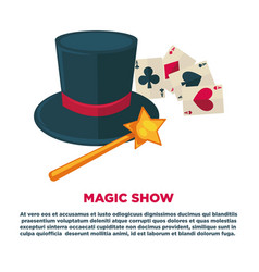 magic show advertisement banner with tall hat and vector image