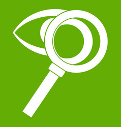 magnifying glass with eye icon green vector image