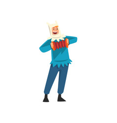 Male entertainer in festive costume playing vector