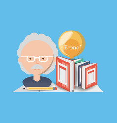 Man teacher chemistry with books and bulb vector