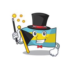 Mascot flag bahamas with in magician character vector