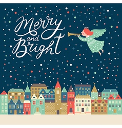 Merry and Bright lettering vector image