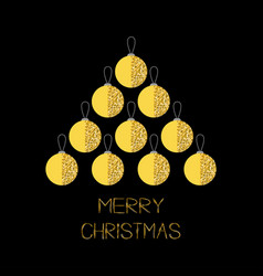 merry christmas ball gold sparkles glitter vector image
