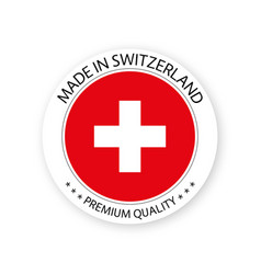 Modern made in switzerland label vector