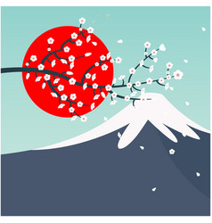 mount fuji sun sakura background image vector image