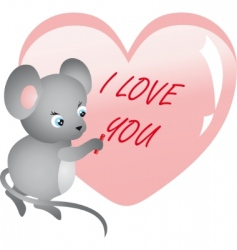 mouse writing on heart vector vector image