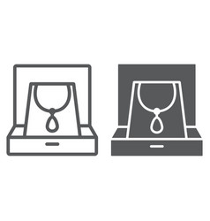 necklace in box line and glyph icon jewellery and vector image