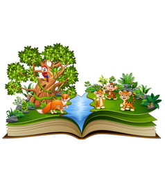 open book with animal cartoon playing in the park vector image