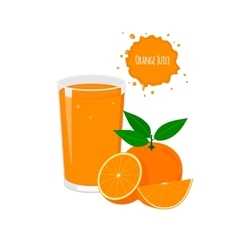 orange juice with delicious oranges vector image