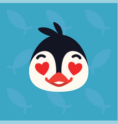 penguin emotional head of vector image