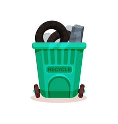 plastic container full of trash garbage can with vector image