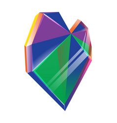 polygonal multicolored crystal heart isolated on vector image
