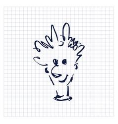 Portrait funny man sloppy simple one line doodle vector