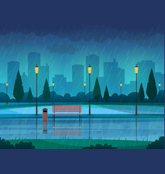 Rainy day park raining public park rain city vector