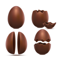 realistic 3d detailed chocolate eggs set vector image