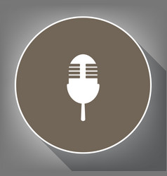 retro microphone sign white icon on brown vector image