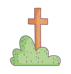 Sacred cross and bush on white background vector