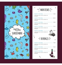 Seafood Menu Design Set vector image